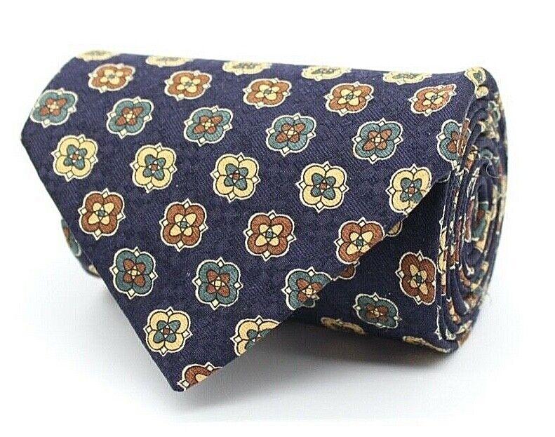 Alba Moda Herren Krawatte 145cm 100% Seide Blau Muster #69