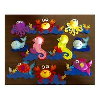 Sea World Animals 4 Foam Decorations Baby Shower Diaper Cakes Decor, Pack Of 10