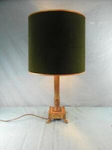 Tischlampe-Messing-Bronze-Antik-Lampe-Leuchte-Jugendstil-Verziert-Unikat-o9a3