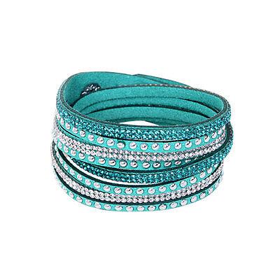 New Fashion Rhinestone Bracelet Leather Wrap Wristband Cuff Punk Bangle Gift