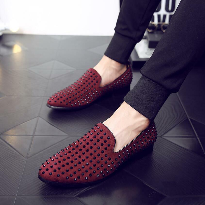Mens Suede Leather Punk Studded Rivet Casual shoes Slip on Driving Loafers Pumps