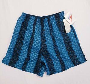 Speedo-Men-039-s-Swim-Trunks-Shorts-Teal-amp-Black-Hawaiian-Floral-Print-Size-Large
