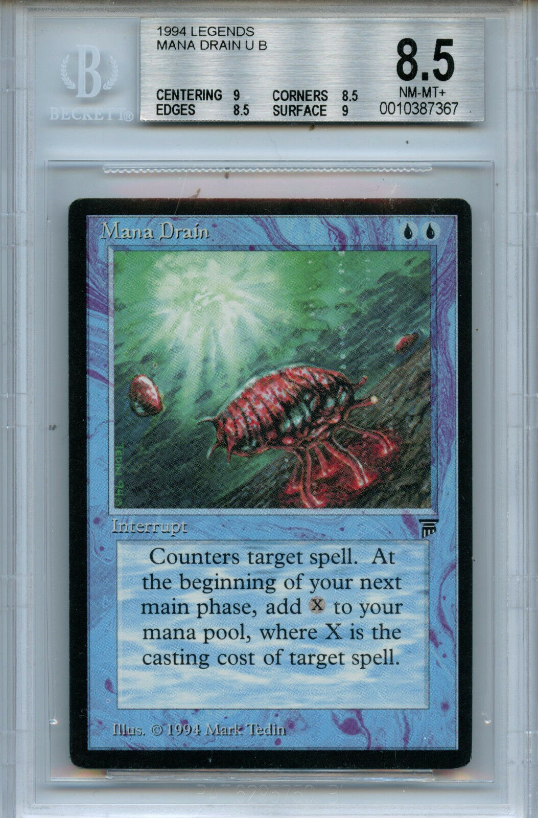 MTG Legends Mana Drain BGS 8.5 NM-MT+ Magic the Gathering WOTC card 7367