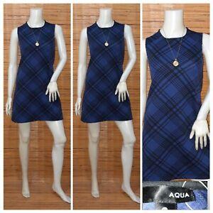 AQUA-PLAID-SHIFT-DRESS-S