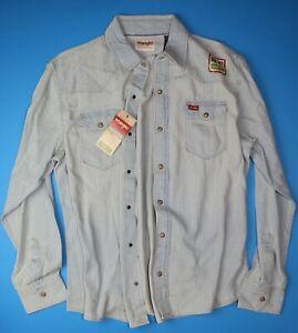 New-Wrangler-Long-Sleeve-Denim-Shirt-Bleached-Indigo-Color-Trim-Fit-Men-039-s-Sizes