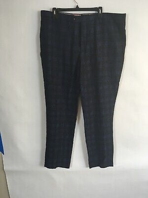 Navy Ted Baker London Extra Trim Fit Checkered Wool Pants Size 34 R NWT!