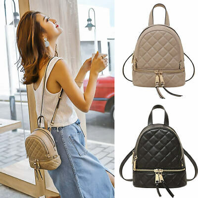 Convertible Real Leather Canvas Small Mini Backpack Rucksack Shoulder bag Purse