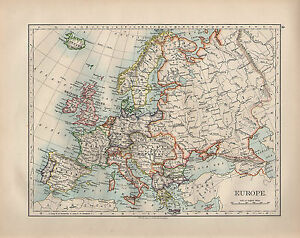 Map Of Spain Portugal And Italy.Details About 1899 Victorian Map Europe British Isles Spain Portugal France Italy Germany