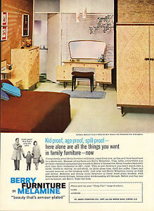 Details about original large colour advert 1962   berry furniture in  melamine
