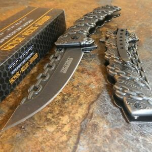TAC-FORCE-STONE-WASHED-Spring-Assisted-Open-CHAINS-Folding-Pocket-Knife