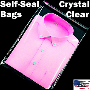 5-500-Clear-12x15-034-T-Shirt-Plastic-Bags-Self-Seal-Clothes-Packaging-Cello-Poly