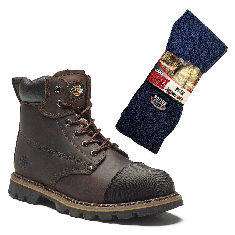 botas De Trabajo De Seguridad Dickies Crawford marrón y 1 Par de Calcetines de arranque