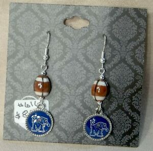 Memphis-Tigers-Small-Round-Earrings-with-a-Football-Bead