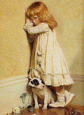 CHARLES BURTON BARBER Print IN DISGRACE Naughty Girl & Jack Russell Terrier Dog
