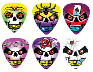 12-Pack-Pearl-Guitar-Picks-Wicked-Skulls-Tattoo-Bullet-Rose-Ace-Barbed-Wire-Pick