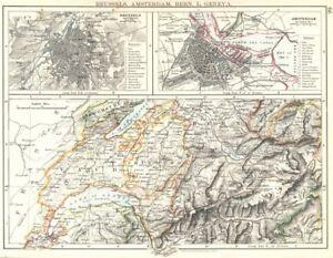 EUROPE Brussels Amsterdam Berne L Geneva Vaud Fribourg - Amsterdam old map