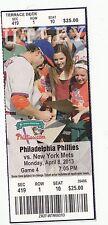 2013 PHILADELPHIA PHILLIES VS NEW YORK METS Ticket Stub 4/8/13 MATT HARVEY WIN