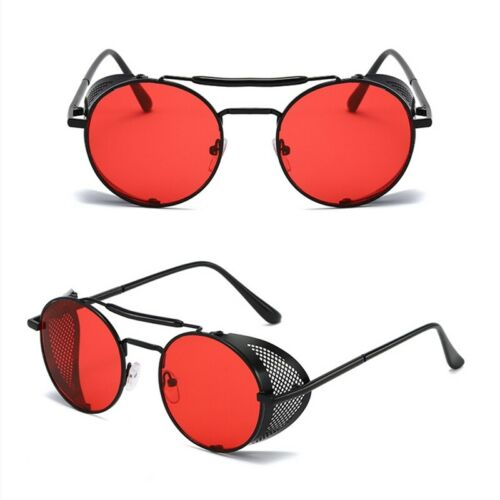Red Black Vintage Retro Steampunk Gothic Side Shield Hipster Round Sunglasses