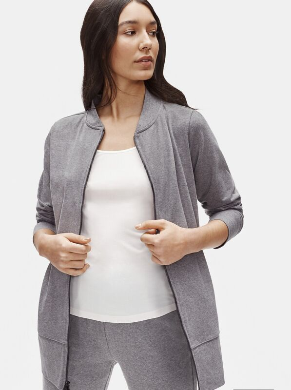 Small Eileen Fisher Heathered Organic Cotton Stretch Flight Jacket Bnwts $228 Complete In Specifications
