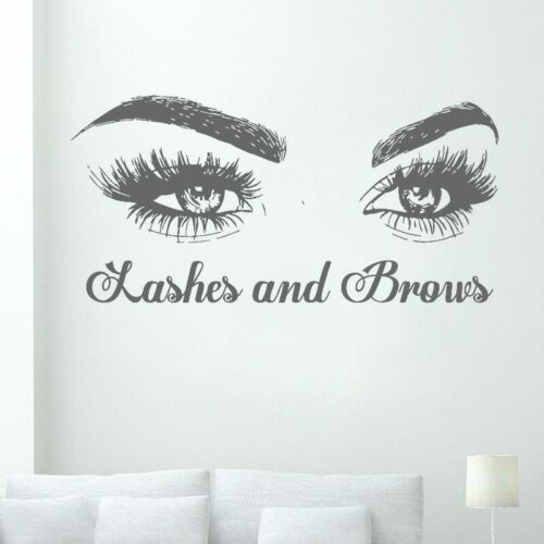 Lashes and Brows Vinyl Decal Eyelashes Extensions Eyebrows Wall Sticker Eyes