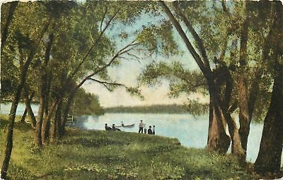 Rockford Illinois~Rock River~Boating Party~1910 Postcard