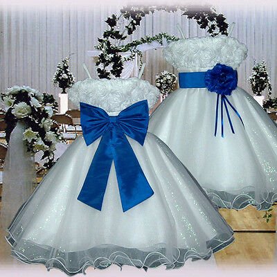 USM2D70 Royal Blue Baby Christening Bridesmaid Flower Girls Dress 1 to 14 Yrs