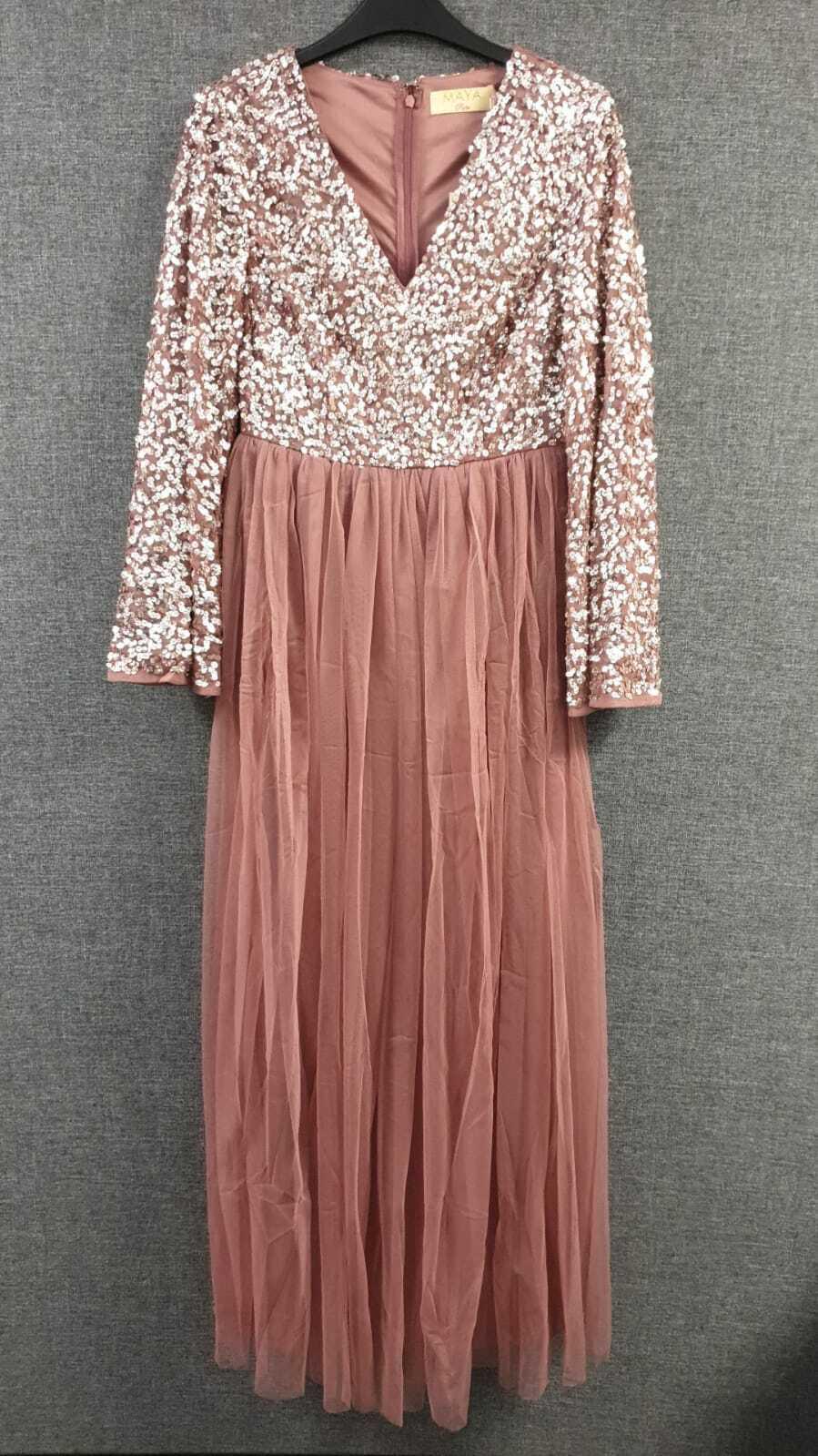 Asos Maya Petite Sequin Top Maxi Dress, Fluted Sleeve UK 10 RRP LN014 AA 17