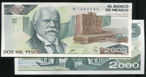 1989 MEXICO  pick 86 c P86c 2000-PESO UNC