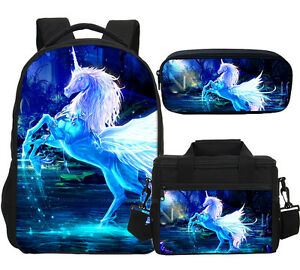 Purity Grace Unicorn Backpack Kids Insulated Lunch Bag Pen