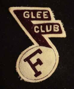 """VINTAGE 1960'S-1970'S SCHOOL GLEE CLUB MAROON AND WHITE PATCH 5"""" X 6"""""""