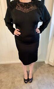 MR-K-Vintage-80-s-90-s-Size-12-Black-Cocktail-Retro-Dress