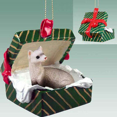 FERRET Pet Green Gift Box Holiday Christmas ORNAMENT