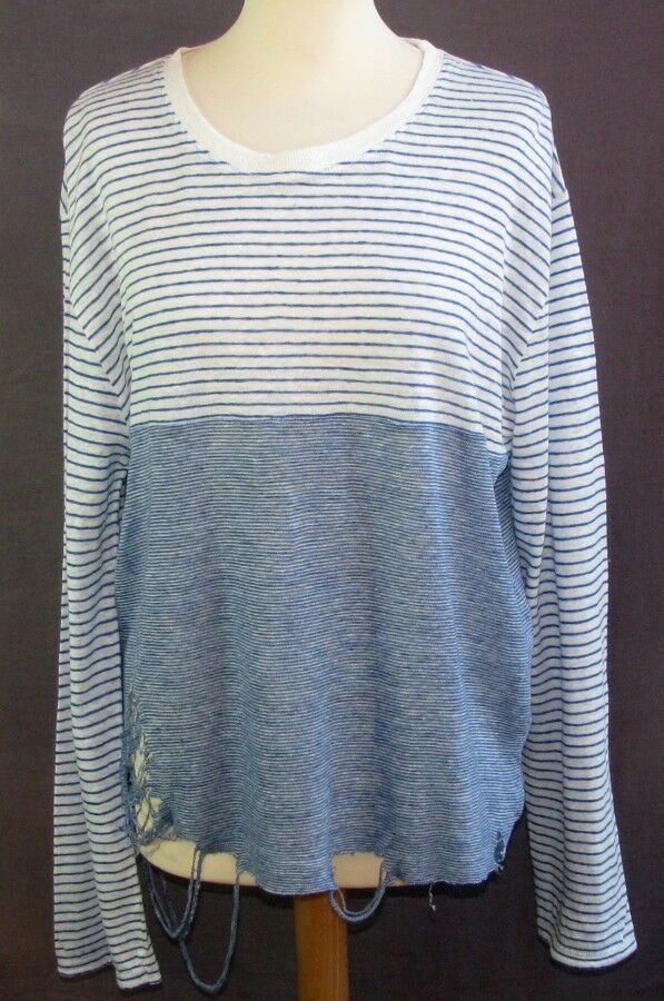 IRO JEANS - T-SHIRT TOP LONG SLEEVES LINEN WHITE & blueE DESTROY SIZE SMALL = 38