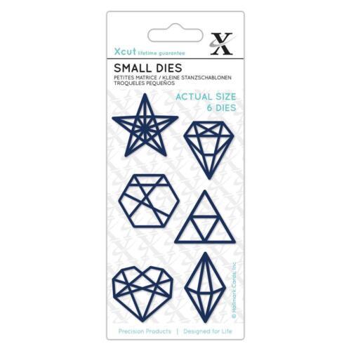 Die Conjunto de 6 Troqueles formas geométricas Xcut Pequeño Estrella Hexagonal Triángulo De Diamante