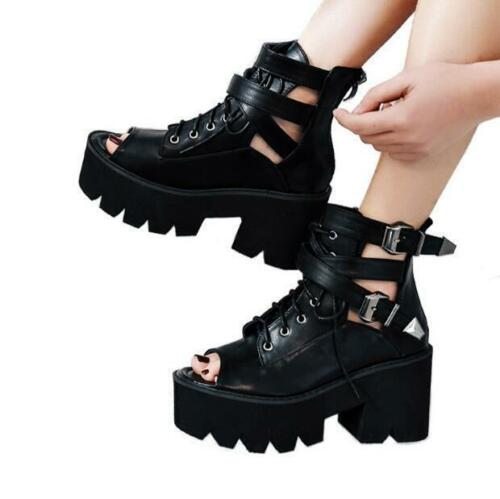 con moto Block Womens Sandali Platform Gothic Punk Heels Lace da Buckle scarpe Up FwBzqfwU
