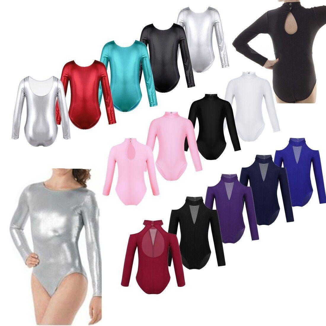 Girls Kids Glittery Sport Leotard Dance Gymnastics Ballet Long Sleeve Jumpsuit