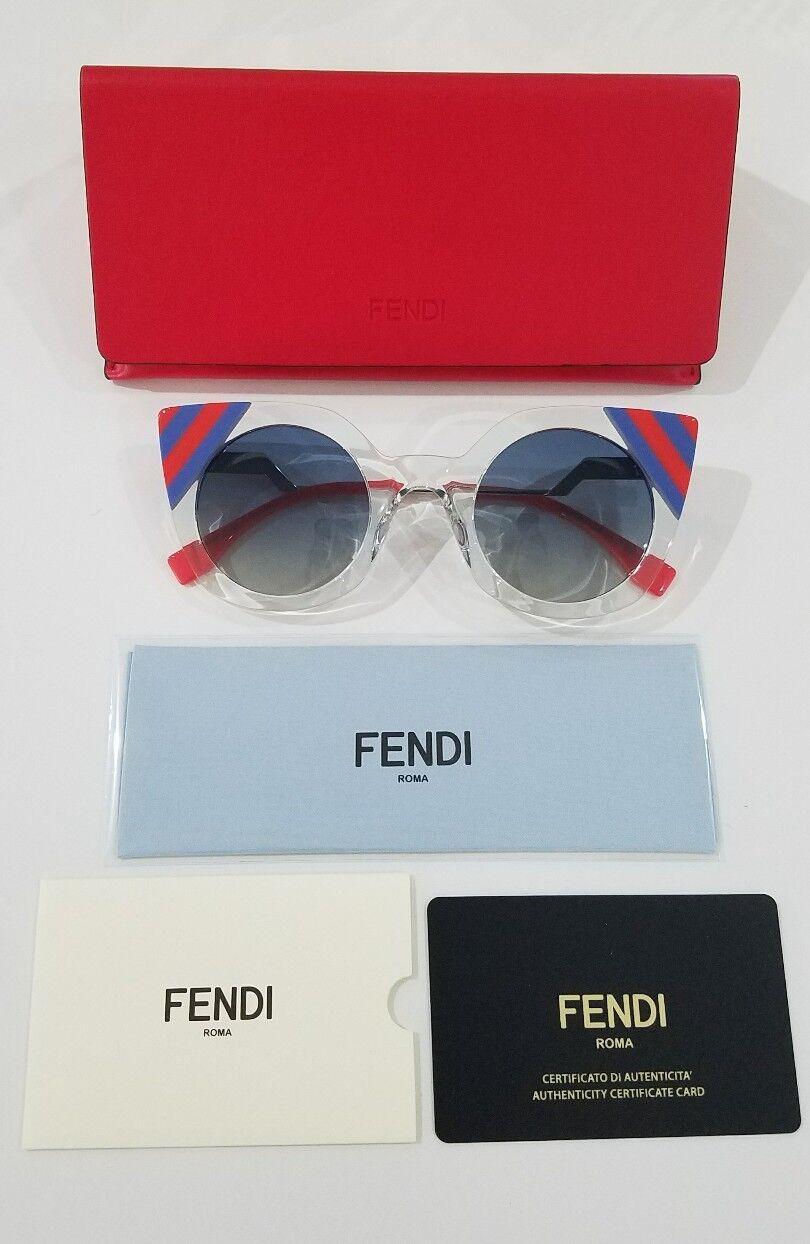 FENDI FF0240 1ED Green Red Blue Stripe Cat Eye Sunglasses Made In Italy NEW