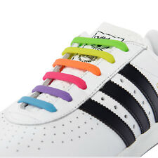 Set of 12 Kids Rainbow No Tie Laces Silicone Easy Trainers Elastic Shoelaces