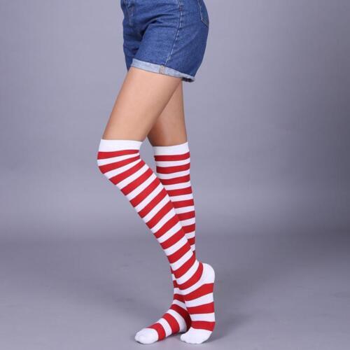 NEW Women Cotton Socks Thigh High Striped Over the Knee Socks Slim Leg Stockings