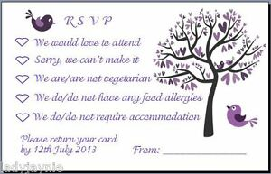 Pack-of-25-RSVP-Wedding-Cards-Tree-Love-Birds-Free-Personalisation