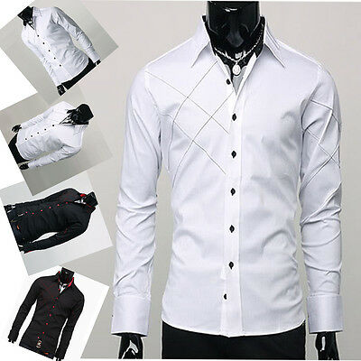 Korean Fashion PJ Mens Slim Fit Casual Shirts Luxury Formal Business dress Shirt