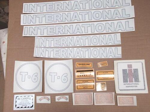 ALL DECALS ON TRACTOR. INTERNATIONAL T-6 GASOLINE CRAWLER VINYL DECAL SET