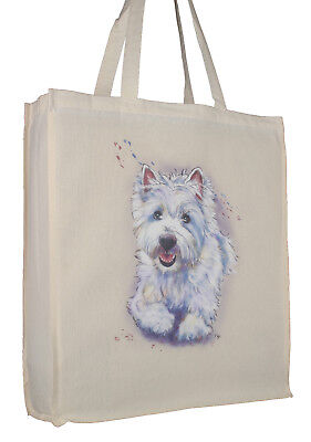 Bull Terrier Cotton Shopping Tote Bag with Gusset and Long Handles Perfect Gift