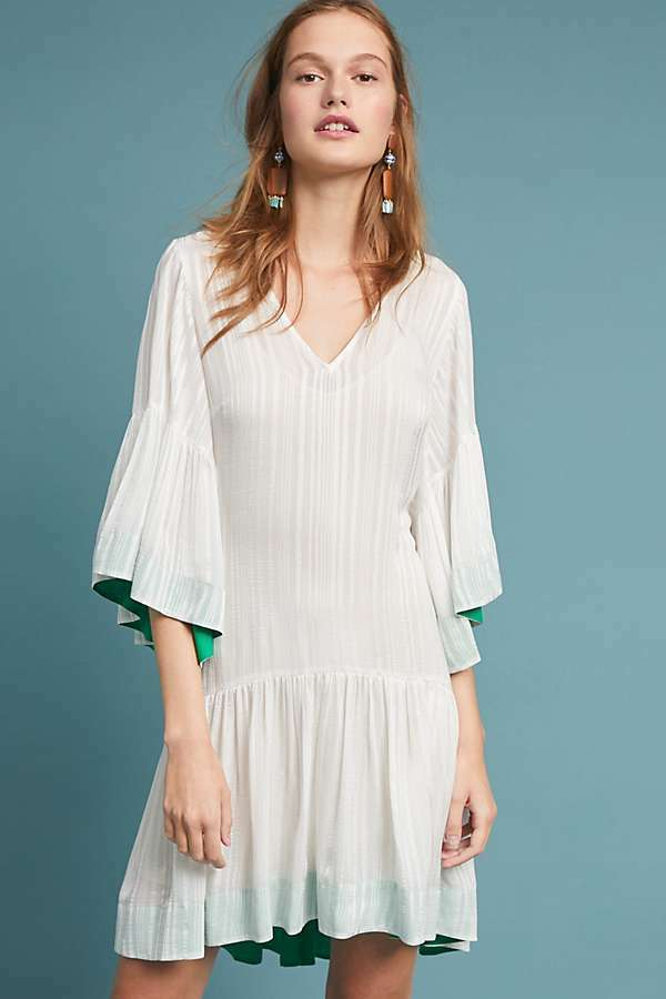 New Anthropologie Hera Flutter-Sleeve Weiß Dress by  Tracy Reese.SMALL