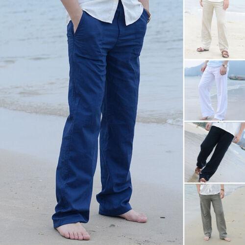 Uomo Lino Pantaloni Larghi Spiaggia Coulisse Yoga lungo Sportivi Bianco Khaki