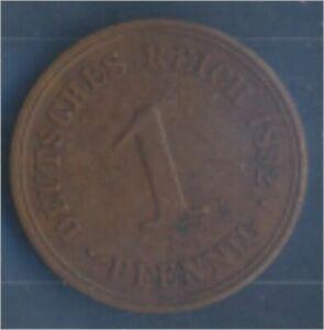 German-Empire-Jagerno-10-1892-A-ext-fine-Bronze-1892-1-Pfennig-Eagle-7849004