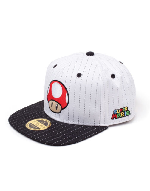 OFFICIAL NINTENDO - RED POWER-UP MUSHROOM PINSTRIPE WHITE SNAPBACK CAP (NEW)