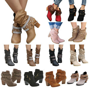 Womens-High-Heel-Buckle-Ankle-Boots-Pointed-Toe-Booties-Autumn-Winter-Shoes-Size