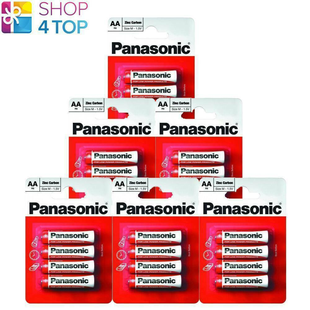 24 AA CARBON ZINC Panasonic lr6 Batteries Blister 1.5v Mignon mn1500 NEW