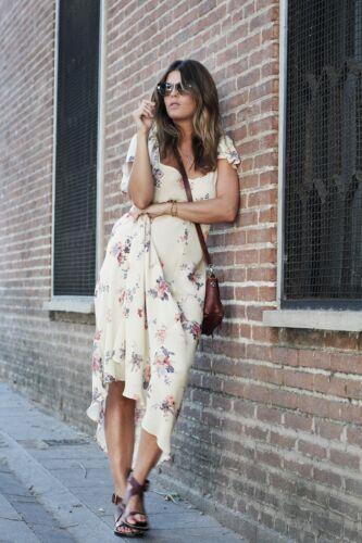 ZARA STUDIO Floral Print Long Flowing Maxi Dress Sand Vintage Style S M BNWT